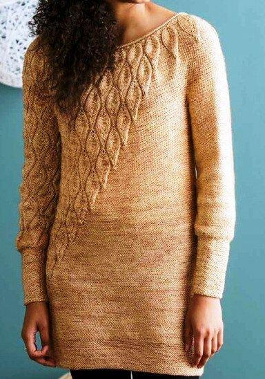 """Вяжем спицами. Узор """"листочки"""", для разных моделей пуловеров."""