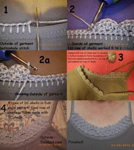 Комбинирование ткани и вязания крючком.