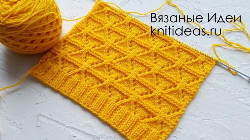 Красивый узор для свитера, джемпера, кардигана спицами!