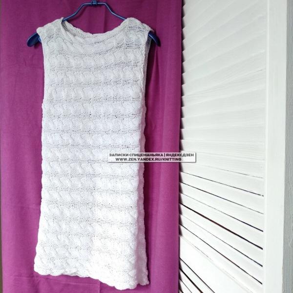 Летнее топ-платье 2 спицами из двух прямоугольников!