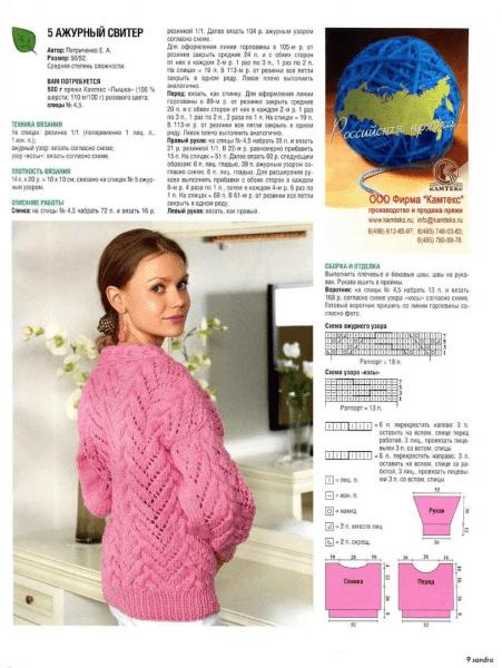 Пуловеры розового цвета спицами на любой вкус