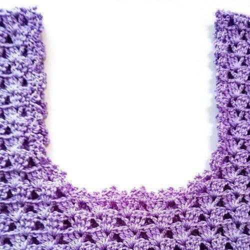 Ажурный топ цвета лаванды. История вязания